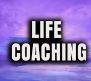 Life coaching words with purple background