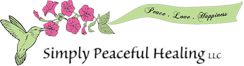 Simply Peaceful Healing logo in pink and green